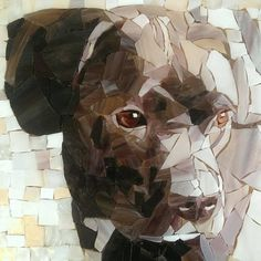 Nature of the Beast 11x16 stained glass mosaic dog portrait