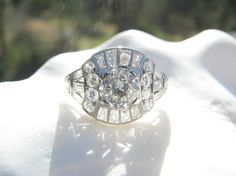 Art Deco Diamond Engagement Ring Old European Cut by Franziska, $8000.00