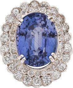 Sapphire, Diamond, Platinum Ring