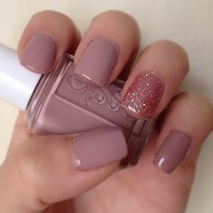 """Essie """"Lady Like"""" & OPI """"Teenage Dream"""" on accent nail      OPI """"Teenage Dream"""" (ring finger)"""