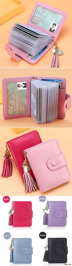 23 Card Slots Genuine Leather Hasp Card Holder Tassel Document ID Card Bags Purse For Women. Genuine Leather purses, card holder, card case, women's purses. 6 colors for choice.  Buy now!