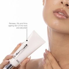 Formulated with a unique advanced skin tightening complex, our multi-tasking N.E.C.K. recovery lifts and firms sagging, ageing skin of the neck & décolleté. *Apply once or twice daily. Suitable for all skin. #neck #chest #skin #pHformula #skinresurfacing #professionalskincare #antiageing Skin Resurfacing, Am Pm, Skin Tightening, Ageing, Anti Aging, Recovery, Lipstick, How To Apply, Unique