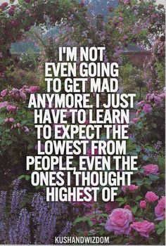 I'm not even going to get mad anymore. I just have to learn to expect the lowest from people, even the ones I thought the highest of.