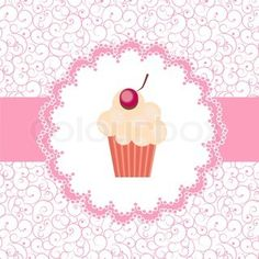 Card with a cupcake vector illustration