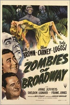 zombies ON BROADWAY vintage movie poster BELA LUGOSI creepy campy 24X36 HOT Brand New. 24x36 inches. Will ship in a tube. - Multiple item purchases are combined the next day and get a discount for dom