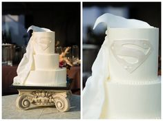 I absolutely adored Jenny + Jesse's superhero wedding cake. Photography by Candice K