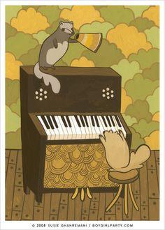 Squirrel Piano Art Print