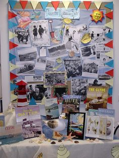 """Library display - Going """"Doon the Watter"""" for your holidays during the Glasgow Fair. Seaside Holidays, British Seaside, Seaside Towns, Library Displays, Learning Resources, Glasgow, Scotland, Centre, Dark"""