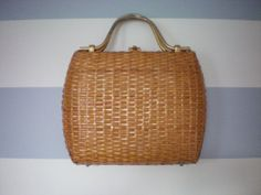 Vintage 50s // Wicker Purse with Gold Clasp and by NewCityOldSoul, $29.90