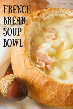 French Bread Bowls- Do you love eating soups and stews out of bread bowls? Let me show you how to make your own bread bowls at home! It's easier than you think! Bread Recipes, Soup Recipes, Cooking Recipes, Crockpot Recipes, Recipies, How To Make Bread, Food To Make, Homemade Bread Bowls, Homemade Breads