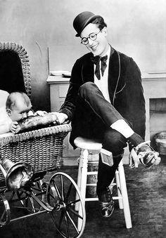 Harold Lloyd and a little friend c. 1918