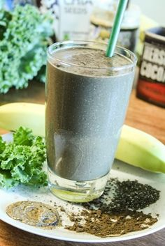 Chocolate Chia Smoothie with some sneaky kale in there. We suggest using Unsweetened Almond Breeze. #recipe #smoothie #green #almondmilk #almondbreeze #healthy