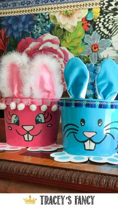 Not only are these bunny buckets SO cute…they are EASY….and make great last minute gifts! - By Tracey's Fancy Easter Easter Crafts For Kids, Easter Gift, Easter Ideas, Bunny Bunny, Easter Bunny, Easy Diy Crafts, Craft Stick Crafts, Easter Buckets, Diy Easter Decorations