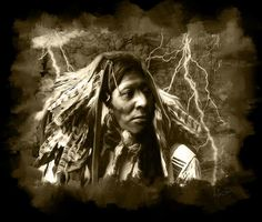 """$1750; """"Thunder Chief"""" Digital Painting inspired by Edward S. Curtis Collection"""