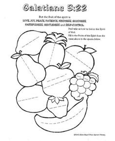 Fruit of the spirit printable sunday school coloring pages 53 Ideas Sunday School Activities, Bible Activities, Sunday School Lessons, Sunday School Crafts, Activities For Kids, Bible Lessons For Kids, Bible For Kids, Catholic Kids, Kids Church
