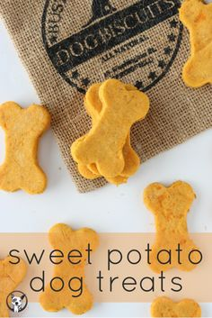 Sweet Potato Dog Treat Recipe - your pooch will love these homemade dog biscuits! Packed with vitamins and Omega 3 from the sweet potato and flaxseed. View recipe on Puppy Treats, Diy Dog Treats, Healthy Dog Treats, Organic Dog Treats, Pumpkin Dog Treats, Dog Biscuit Recipes, Dog Treat Recipes, Dog Food Recipes, Simple Dog Biscuit Recipe