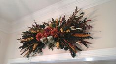 Fall Swag, Eucalyptus Floral Wall Arrangement, Dried and Silk Floral Swag, Eucalyptus Grapevine Wreath,  Rustic, Wall, Mantel Floral Swag by GiftsByWhatABeautifu on Etsy
