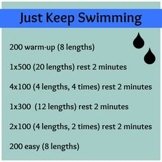 The beginner workouts should be getting easy and have stopped being challenging.  Time to turn up the dial!    (72 lengths in a pool is close to a mile!  Look at you go!)