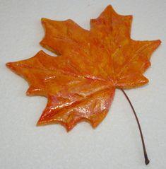 feuille d'automne pour déco en pâte à sel
