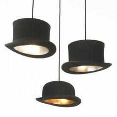 Jake Phipps Wooster pendant lights: repurposed British bowler hats.