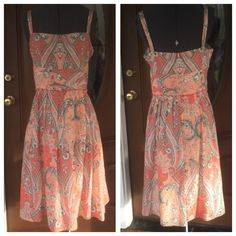 ANN TAYLOR LOFT Orange/Green Silk Sundress ANN TAYLOR LOFT Orange/Green Silk Sundress.  Fully lined.  Side zipper closure.   Orange/olive green/cream silk material.  Great condition.  NOTE:  inner bodice lining had a slight tear which has been mended. Ann Taylor Dresses