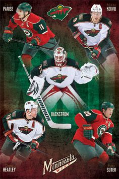Minnesota Wild Superstars NHL Hockey Action Poster - Costacos switch backstrom with Harding in this picture, and it would be perfect! Hockey Games, Hockey Mom, Ice Hockey, Vancouver Canucks, Minnesota Wild Hockey, Hockey Posters, Fighting Sioux, Superstar, Sports