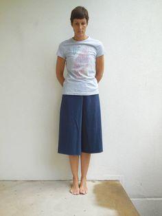 Womens Navy Blue Culotte Pants T-shirt Yoga Pants Gaucho by ohzie