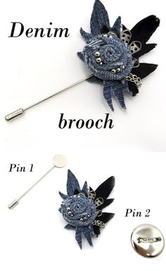 Gardening – Gardening Ideas, Tips & Techniques Denim Flowers, Fabric Flowers, Denim And Diamonds, Fabric Brooch, Denim Ideas, Recycled Denim, Brooches Handmade, High Jewelry, Flower Brooch