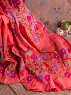 Pink And Green, Purple, Ethnic Sarees, Floral Theme, Floral Border, Walking By, Indian Fashion, Alexander Mcqueen Scarf, Silk