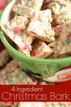 4-Ingredient Christmas Bark Recipe - SO easy and delicious! Great for the fam, but perfect for packaging up for teachers, friends and neighbours. - Happy Hooligans