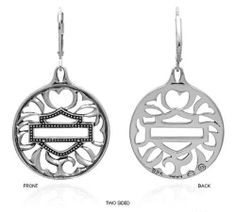 """Harley Davidson® """"BEVELED DISK"""" dangle sterling earrings MOD HDE0254 by MOD MOD. $39.99. Harley Davidson officially licensed product. dangle leverback earrings. Harley Davidson bar and shield logo with a dangle winged pattern. Includes earring card and a black velvet protective pouch. Constructed entirely of precious sterling silver metal"""
