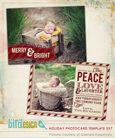PSD Christmas Card Photoshop template - Classic Wishes