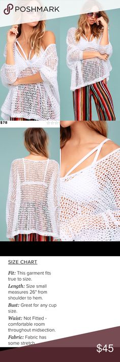 Free People Napa White Crochet Top Be the boldest member of your crew in the Free People Napa White Crochet Top! On-trend pierced, crochet lace shapes a plunging V-neckline and three-quarter dolman sleeves. Oversized, relaxed bodice. Unlined and sheer. 60% Cotton, 40% Polyester. Machine Wash Cold. Imported. Free People Tops