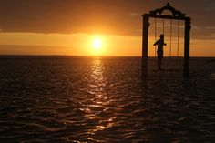 Sunset with Swing Gili Island, Islands, Celestial, Sunset, Outdoor, Indonesia, Outdoors, Sunsets, Outdoor Games