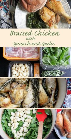 Make braised chicken with spinach and garlic, all in one pot