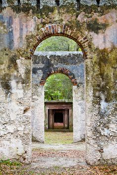 The ruins of a Chapel of Ease on St. Helena Island in Beaufort County, SC. Built in 1740,  burned in a forest fire in 1886.