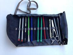 Handmade dark grey leather pencil case artist's by Nebulagalata, $40.00