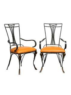 Vintage Pair of Iron Armchairs
