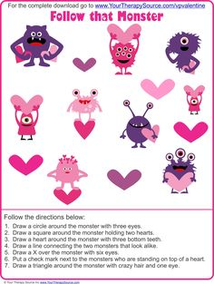 Follow that Monster - Valentine Visual Perceptual Puzzles Freebie from http://yourtherapysource.com/vpvalentinefree.html  - repinned by @PediaStaff – Please Visit  ht.ly/63sNt for all our pediatric therapy pins