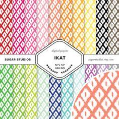 Ikat 20 Piece Digital Scrapbook Paper Mega Pack  by sugarstudios $3.99