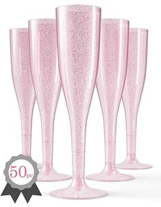 Plastic Champagne Flutes Disposable 100 Pack GOLD Glitter Glasses For Parties Cl