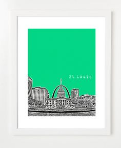 St. Louis Skyline - Saint Louis City Skyline Poster - Gateway Arch - Missouri City Art - VERSION 3.  via Etsy.