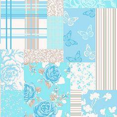 Coloroll Pollyanna Candy Peppermint Blue Patchwork Wallpaper M0722