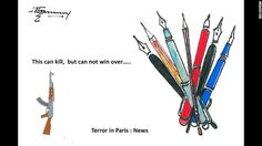 """""""Violence will not be able to stop cartoonists from doing their job,"""" said scientist and artist Thomas Kodenkandath."""