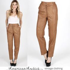 Vintage 80s Super Soft Light Brown Leather Pants 26 waist Size 38 Made in Italy #None #Leather