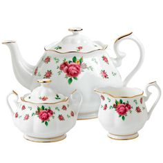 Royal Albert New Country Roses White 3 Piece Set- Teapot, Covered Sugar and Creamer