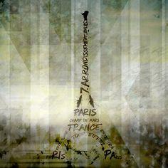 Neu in meiner Galerie bei OhMyPrints: Digital-Art PARIS Eiffel Tower | Geometric Mix No.1