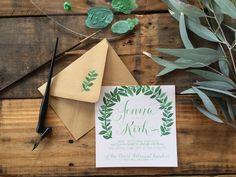 Hand-Painted + Hand-Lettered Green Leafy Wedding Invitation by Brush & Nib Studio