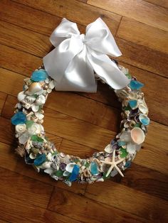 Aqua and Green Sea Glass and Sea Shell Wreath by VictoriasSeacraft, $65.00