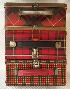 Plaid Vintage Lunch Boxes - Set of 3. These are great for storing small items or papers, receipts, etc and they make beautiful display. #tartan #vintage